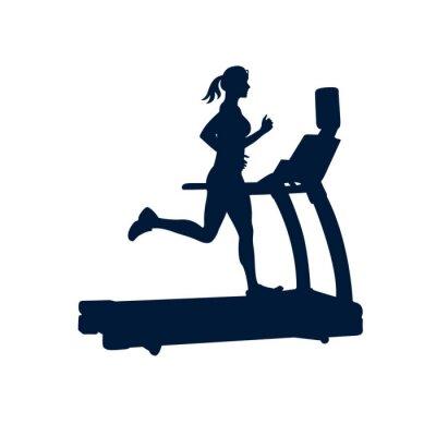 Adesivo Mulher fazendo exercícios na escada rolante, no fundo branco,