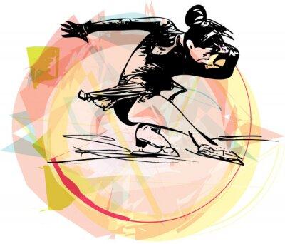 Adesivo Mulher patinadora patinação no colorido arena de esportes