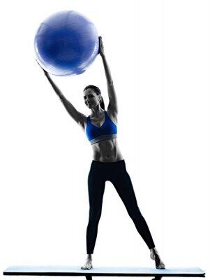 Adesivo Mulher, pilates, bola, exercícios, aptidão