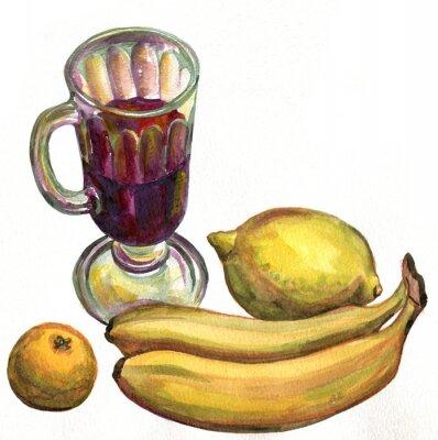 Adesivo Mulled vinho, bananas, limão e mandarim. Pintura da aguarela