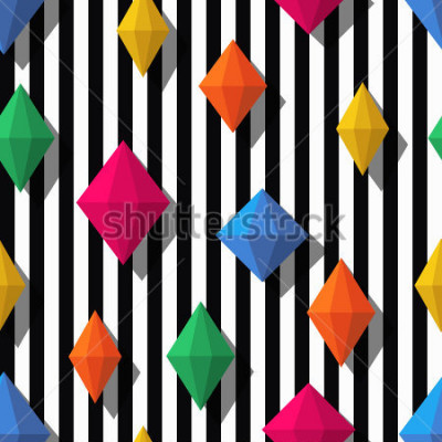 Adesivo Multicolor diamonds, gems on black white stripes, seamless pattern. 3d vector shapes. Abstract universal background. Design for fashion textile print, wrapping paper, web background, package.