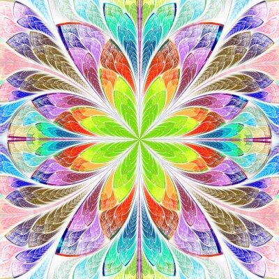 Adesivo Multicolored simétrico, fractal, flor, vitral, vidro