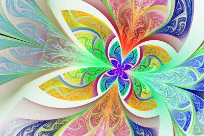 Adesivo Multicolorido Fractal flor ou borboleta fundo em manchado-g