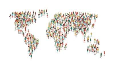 Adesivo Multidão, pessoas, compondo, mundo, mapa