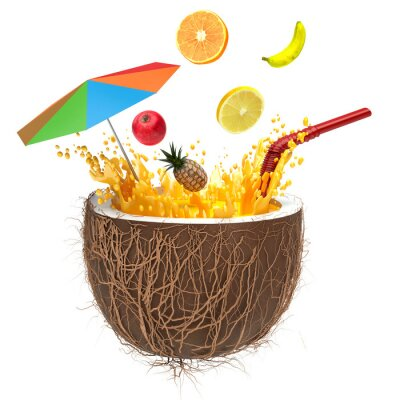 Adesivo multifruit juice in the coconut with a straw and spray