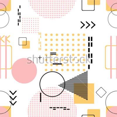 Adesivo Na moda sem emenda, estilo de Memphis com padrão geométrico, ilustração vetorial com figuras geométricas. Design de fundos para o modelo de convite, brochura e promoção.