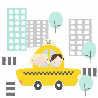 Adesivo Namoradas alegres em um passeio de táxi para a cidade. Gráfico de crianças. Vetorial mão ilustrações desenhadas.