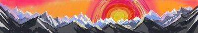 Adesivo Nascer do sol ou por do sol da montanha, pintura digital da arte abstracta da escala de montanha áspera com ajuste ou aumentação colorido enorme do sol, encabeçamento ou pé de página do Web site
