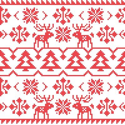 Adesivo Natal e inverno malha padrão sem costura