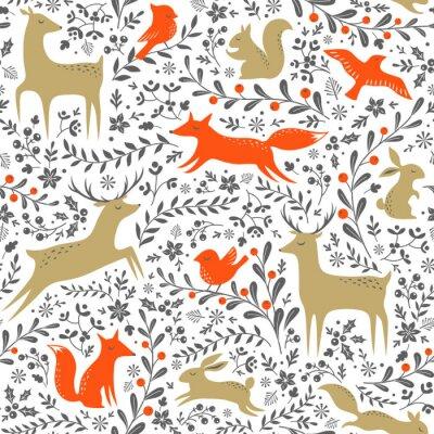 Adesivo Natal, floral, floresta, animais, seamless, Padrão, branca, fundo