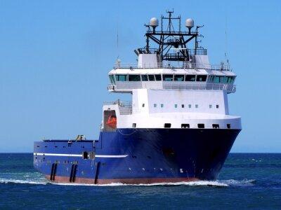 Adesivo Navio de Abastecimento Offshore F, Offshore Supply Vessel em curso no mar para instalações offshore.