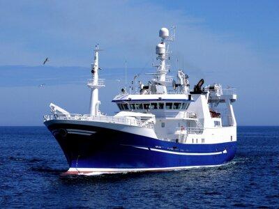 Adesivo Navio de pesca P1, embarcação de pesca em curso para abrigar a terra peixe.