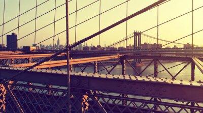 Adesivo Nebuloso, cidade, Skyline, Brooklyn, ponte, pôr do sol