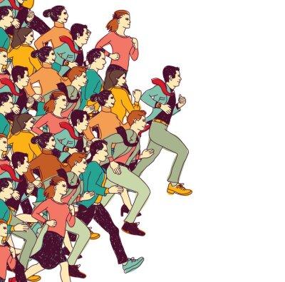 Adesivo Negócio, pessoas, grande, grupo, competição, cor