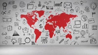 Adesivo Negócios Symbole a Wand mit Weltkarte