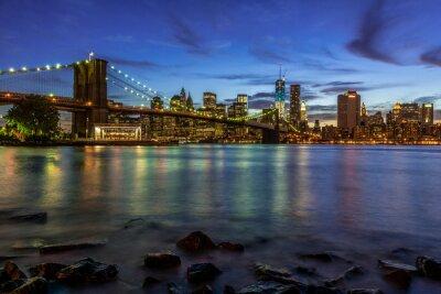 Adesivo New York City Paisagem do por do sol com ponte de Brooklyn, EUA