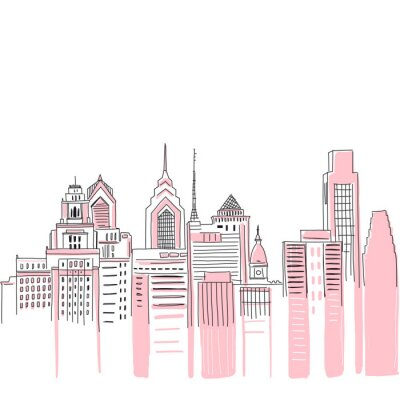 Adesivo New York city scape background. Hand drawn vector doodle graphics. Pink and black colours. Perfect for girlish design.