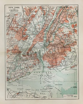 Adesivo New York old map from the end of 19th century