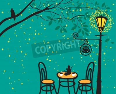 Adesivo night landscape with night cafe in the streetlight