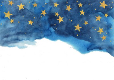 Adesivo Night sky and gold star watercolor hand painting  for decoration on winter season and Chritsmas holiday.