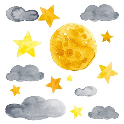 Adesivo Night sky with moon, stars and clouds watercolor illustration set