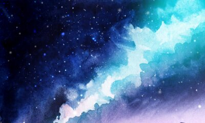 Adesivo Night. The infinite deep starry sky, the Milky Way. Northern Lights Pink and blue streams of light. Mystical boundless universe. Hand-drawn watercolor background illustration.