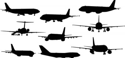 Adesivo nine airplanes silhouettes isolated on white