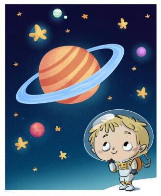 Adesivo niño en el espacio astronauta