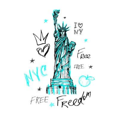 Adesivo Nova York, design de camiseta, cartaz, impressão, letras da estátua da liberdade, mapa, gráficos de camiseta, na moda, pincelada seca, marcador, caneta colorida, tinta, aquarela. Mão de ilustração vet