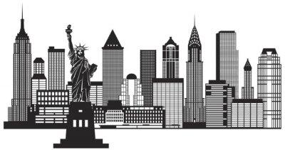 Adesivo Nova York Skyline preto e branco Ilustração