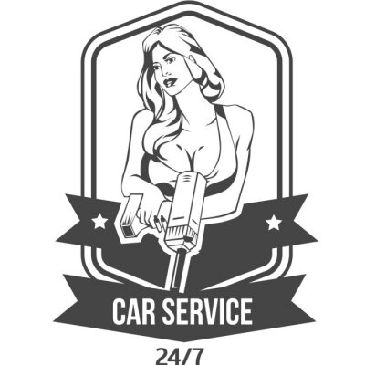 Adesivo O emblema retro do vintage do serviço do carro com mulher