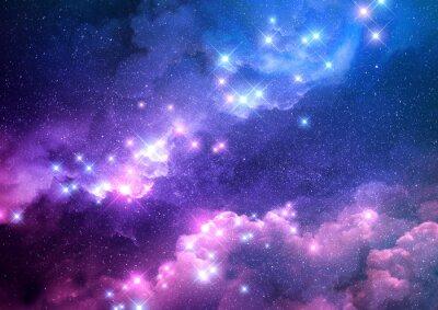Adesivo O fundo cor-de-rosa e azul abstrato da galáxia encheu-se com as estrelas brilhantes. Ilustração de raster.