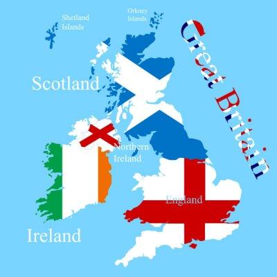 Adesivo O mapa da Grã-Bretanha para cada bandeira de país