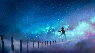Adesivo o menino equilibrando em palitos de madeira contra a Via Láctea com muitas estrelas, estilo de arte digital, pintura de ilustração