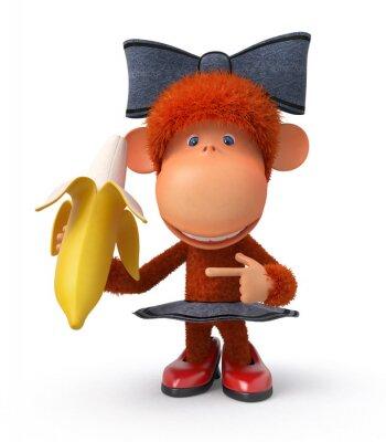 Adesivo o pequeno macaco com banana