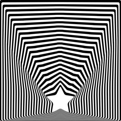 Adesivo O preto da estrela listra o efeito da arte visual da ilusão óptica.