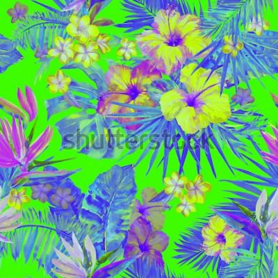 Adesivo O teste padrão tropico bonito com pintura floresce o hibiscus e o pássaro de paraíso. Ilustração tropical pintada bonito com folhas do plumeria, da folha de palmeira e da banana. Fundo tropical da cor