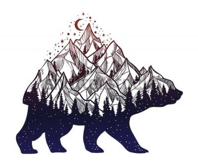 Adesivo O urso e a montanha da floresta da noite ajardinam, exposição dobro, arte da tatuagem dos animais selvagens, estilo da fantasia. Vector a ilustração isolada.
