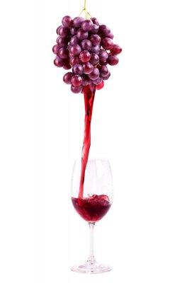 Adesivo O vinho tinto de uvas frescas