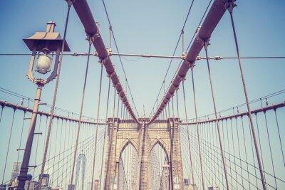 Adesivo O vintage tonificou a imagem da ponte de Brooklyn, NYC.