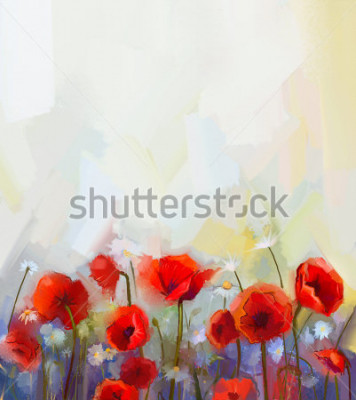 Adesivo Oil  painting red poppy  flowers.  Spring  floral nature background