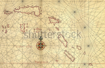 Adesivo Old map and Compass Rose