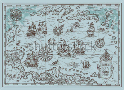 Adesivo Old map of the Caribbean Sea with pirate ships, treasure islands, fantasy creatures. Pirate adventures, treasure hunt and old transportation concept. Hand drawn vector illustration, vintage background