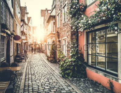 Adesivo Old town in Europe at sunset with retro vintage Instagram style filter effect