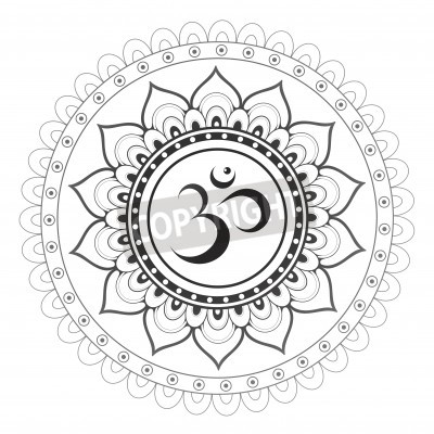 Adesivo OM, símbolo sânscrito de Aum com ornamento da mandala