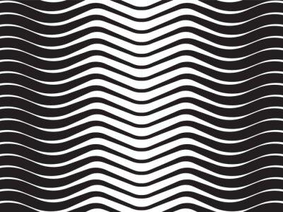 Adesivo onda óptica listrada abstrata fundo preto e branco