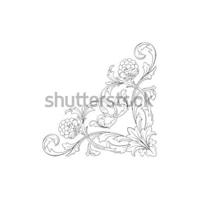 Adesivo Ornamento barroco com filigrana em formato vetorial para quadro de design, padrão. Vintage mão desenhada victorian ou damasco elemento floral. Arte de tinta preta e branca gravada.