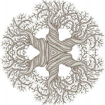 Adesivo Ornamento circular da árvore abstrata com barril curling.