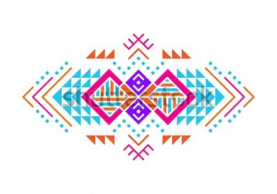 Adesivo Ornamento de estilo asteca. Projeto ornamental indiano padrão americano. Modelo decorativo tribal. Ornamentação étnica. Fundo colorido.