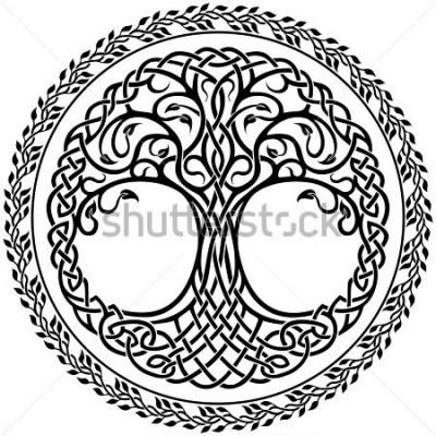 Adesivo Ornamento de vetor, ornamental Árvore de vida celta com borda redonda floral
